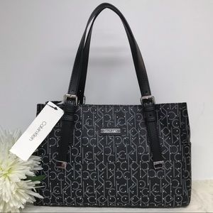 Calvin Klein Studded Purse Satchel Handbag Black